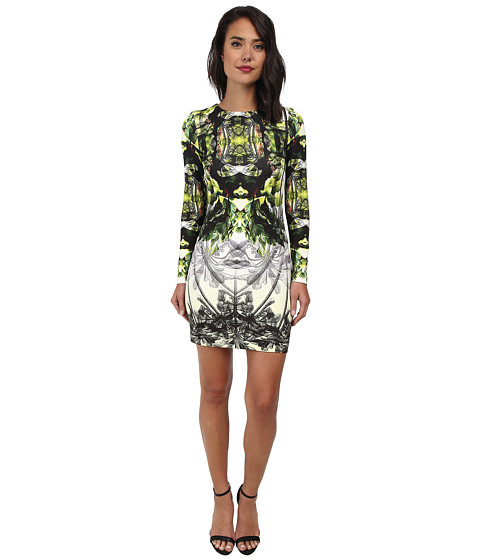 Nicole Miller - Mercedes Coronado Neoprene Long Sleeve Dress (Citronelle) Women's Dress