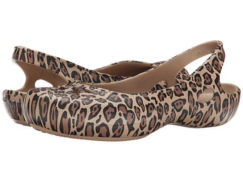 Crocs - Taylor Leopard Flat (Black/Gold) Women's Flat Shoes