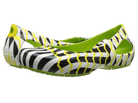 Crocs - Kadee Mondo Chevron Flat (Volt Green) Women's Flat Shoes