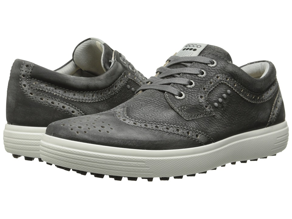 ECCO Golf - Casual Hybrid Wingtip (Black) Men's Golf Shoes