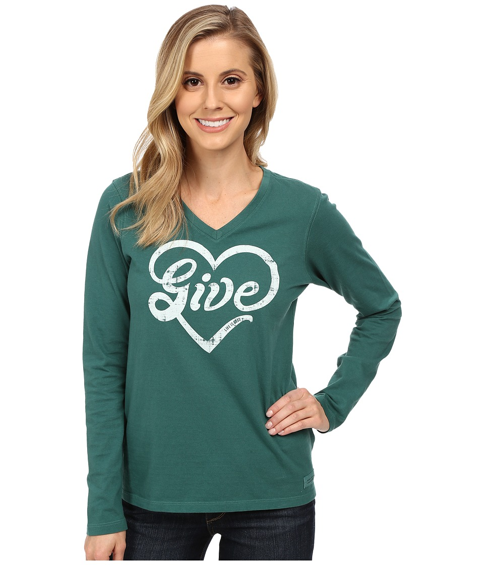 Life is good - Crusher Vee Long Sleeve Tee (Give Love/Hunter Green) Women's Long Sleeve Pullover