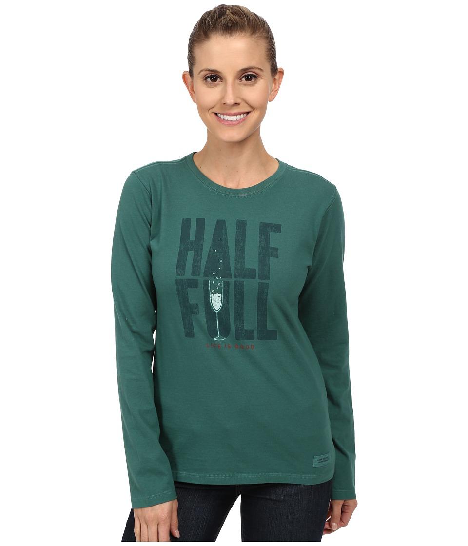 Life is Good - Crushertm Long Sleeve Tee (Half Full Champagne/Hunter Green) Women's Long Sleeve Pullover