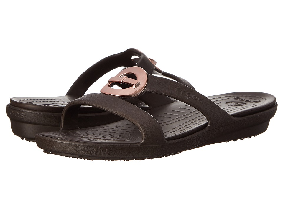 Crocs - Sanrah Circle Bow Sandal (Espresso/Espresso) Women's Sandals
