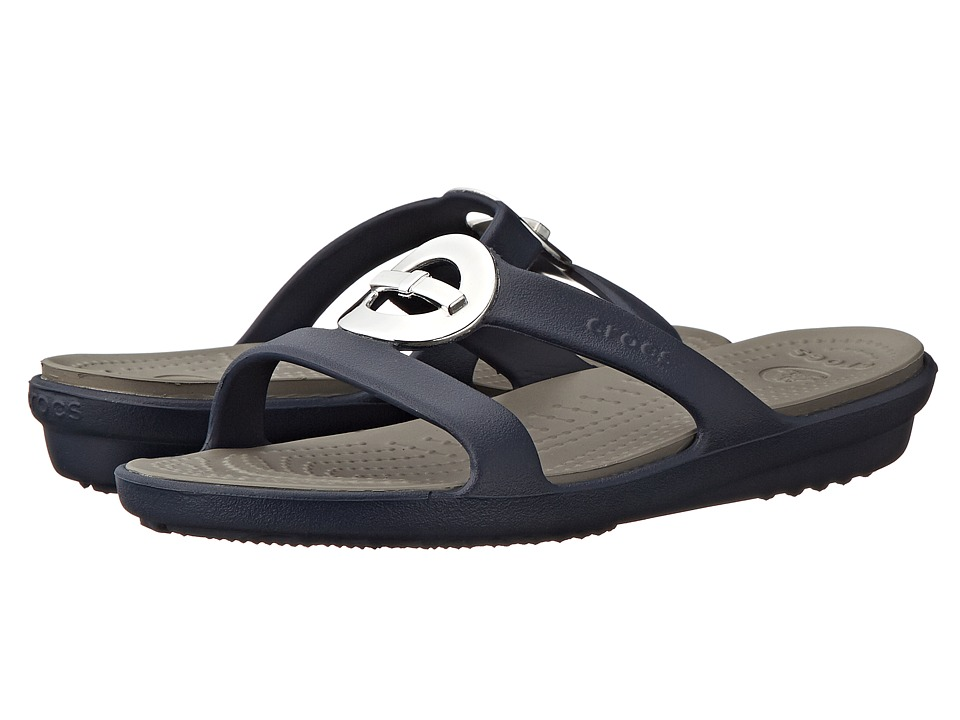Crocs - Sanrah Circle Bow Sandal (Navy/Smoke) Women's Sandals