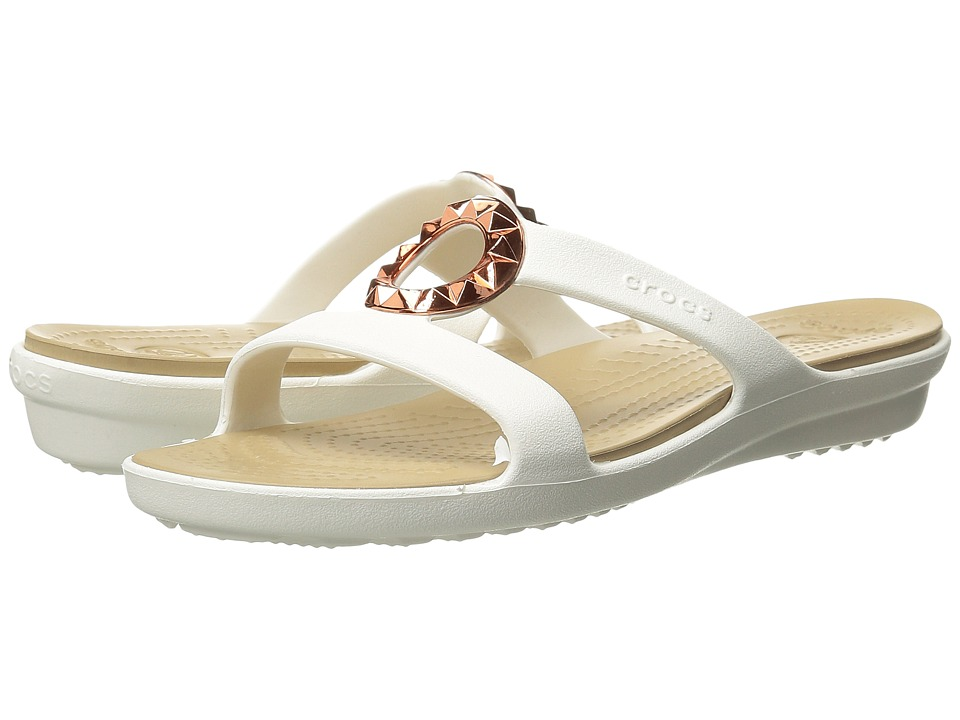 Crocs - Sanrah Studded Circle Sandal (White/Gold) Women's Sandals