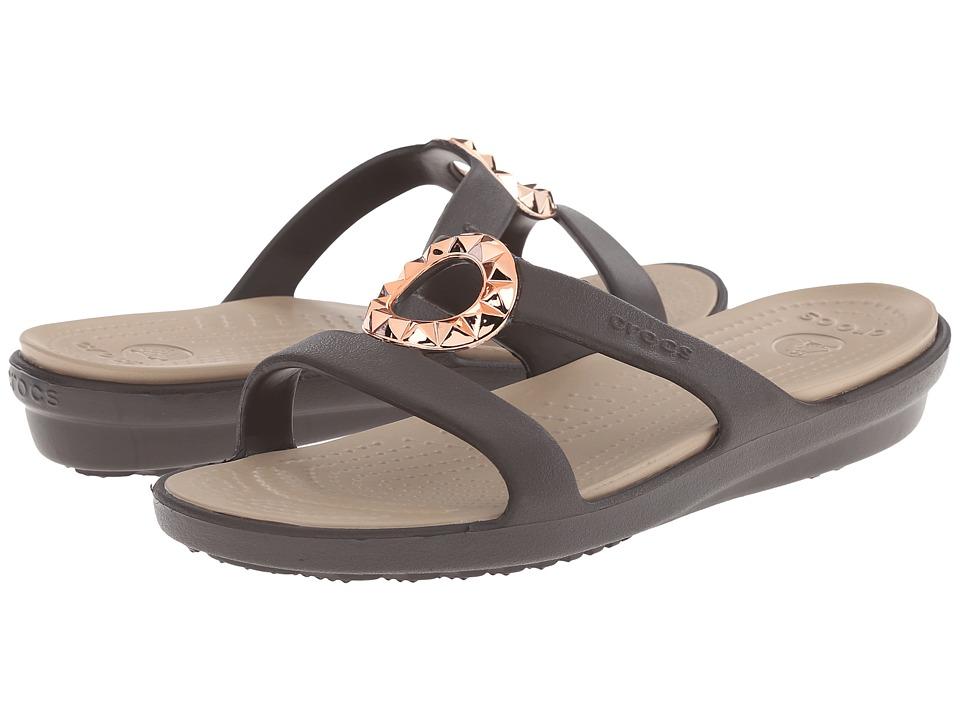Crocs - Sanrah Studded Circle Sandal (Espresso/Tumbleweed) Women's Sandals