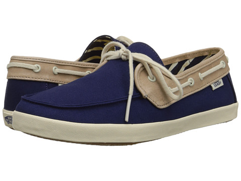 Vans - Chauffette ((Mid Stripe) Patriot Blue/Tan) Women's Shoes