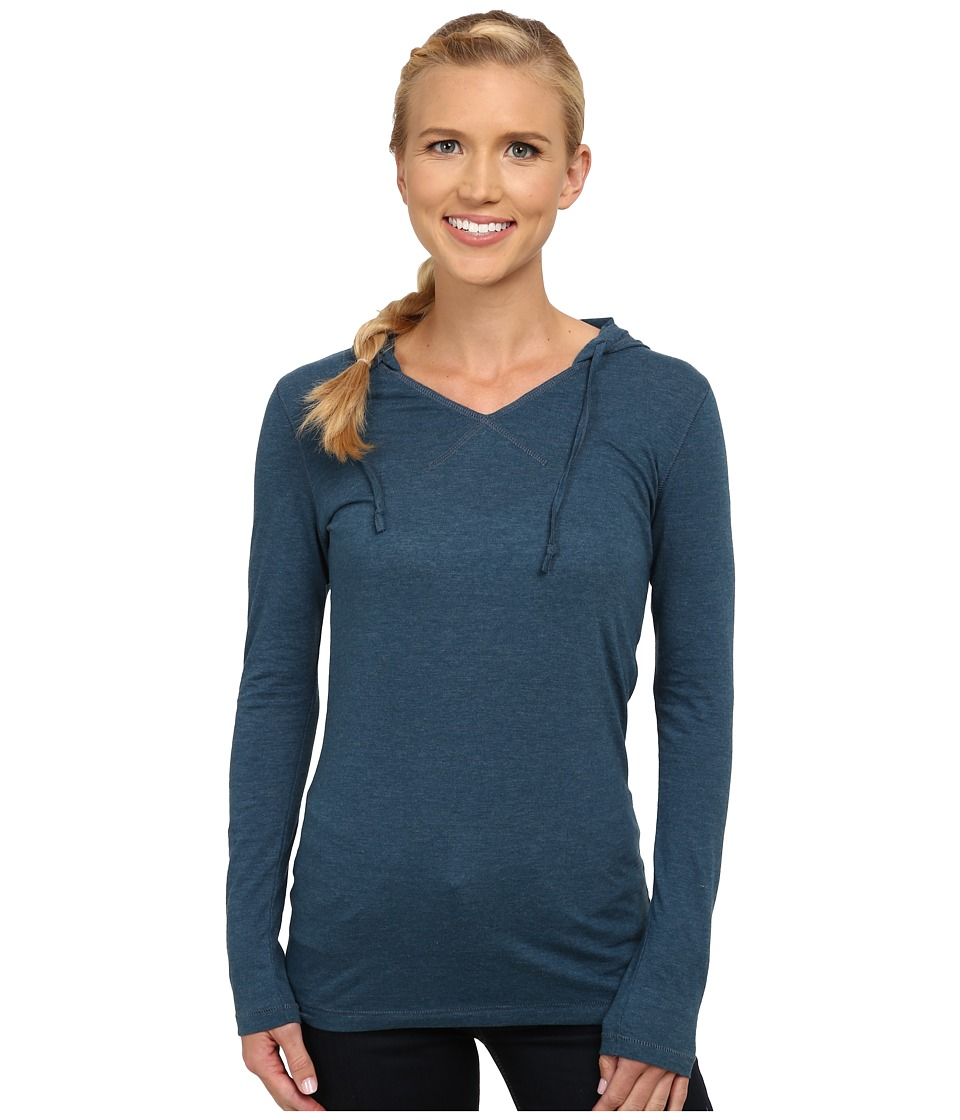 Life is good - Hooded Cool Long Sleeve (Pacific Blue) Women's Long Sleeve Pullover