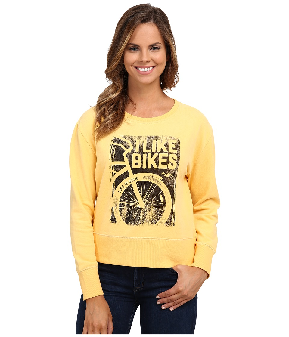 Life is good - Go-To Crew Sweatshirt (Sunflower Gold) Women's Sweatshirt
