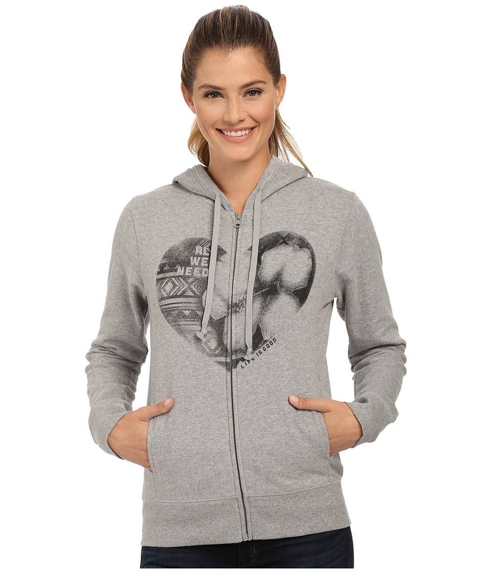 Life is good - Go-To Zip Hoodie (Heather Grey 4) Women's Sweatshirt