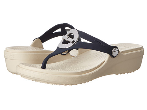 Crocs - Sanrah Circle Bow Wedge Flip (Navy/Stucco) Women