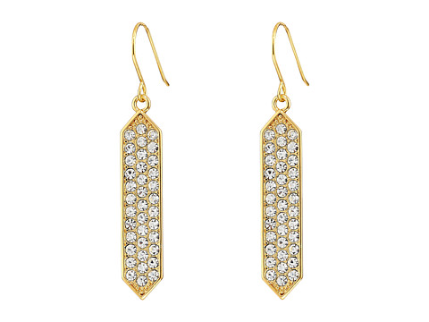 LAUREN by Ralph Lauren - Gold Standard French Wire Geo w/ Crystal Drop Earrings (Crystal/Gold) Earring