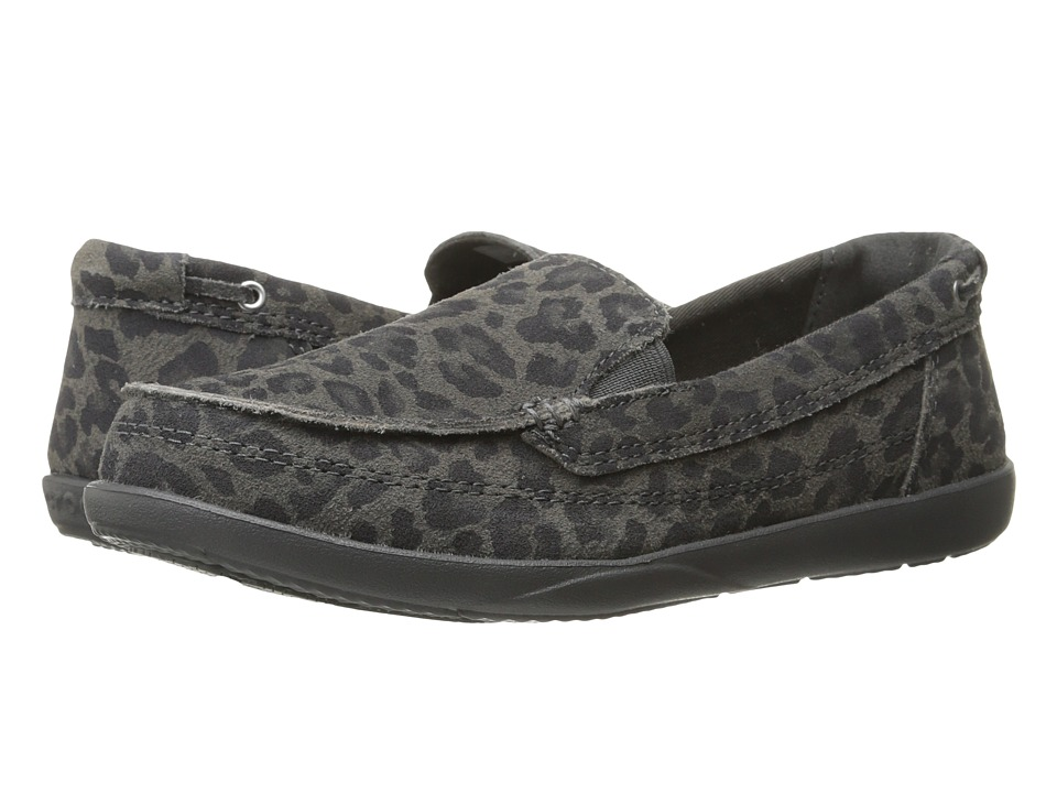 Crocs - Walu Leopard Leather Loafer (Light Grey/Graphite) Women's Shoes