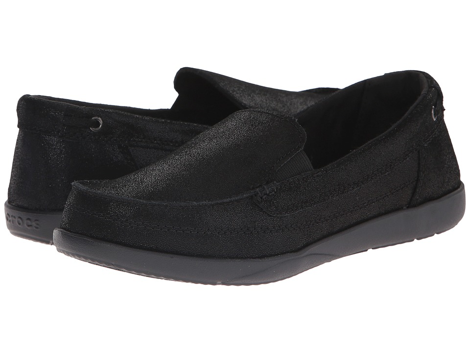 Crocs - Walu Shimmer Leather Loafer (Black/Black) Women's Shoes