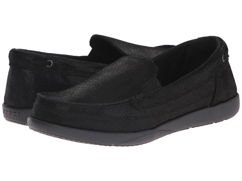 Crocs - Walu Shimmer Leather Loafer (Black/Black) Women's Shoes