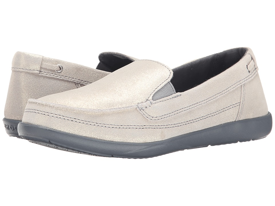 Crocs - Walu Shimmer Leather Loafer (Light Grey/Charcoal) Women's Shoes