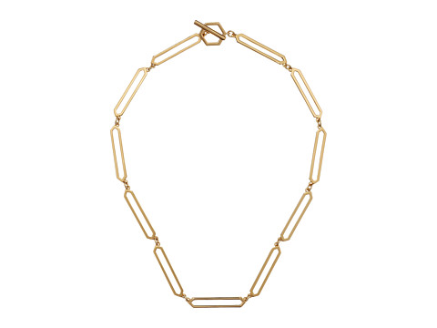 LAUREN by Ralph Lauren - Gold Standard 18 Open Geo Metal Links w/ Ring Toggle Necklace (Gold) Necklace