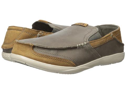 Crocs - Walu Express Leather Loafer (Charcoal/Hazelnut) Men's Shoes