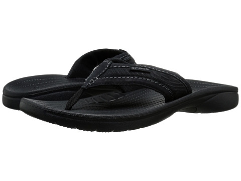 Crocs - Walu Express Flip (Black/Black) Men's Sandals