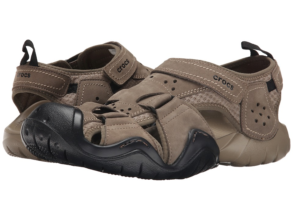 Crocs - Swiftwater Leather Fisherman (Walnut/Khaki) Men's Sandals