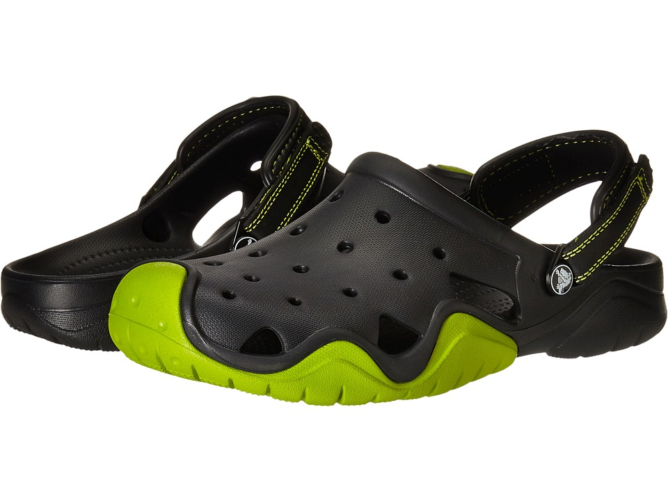 Crocs - Swiftwater Clog (Black/Volt Green) Men's Shoes