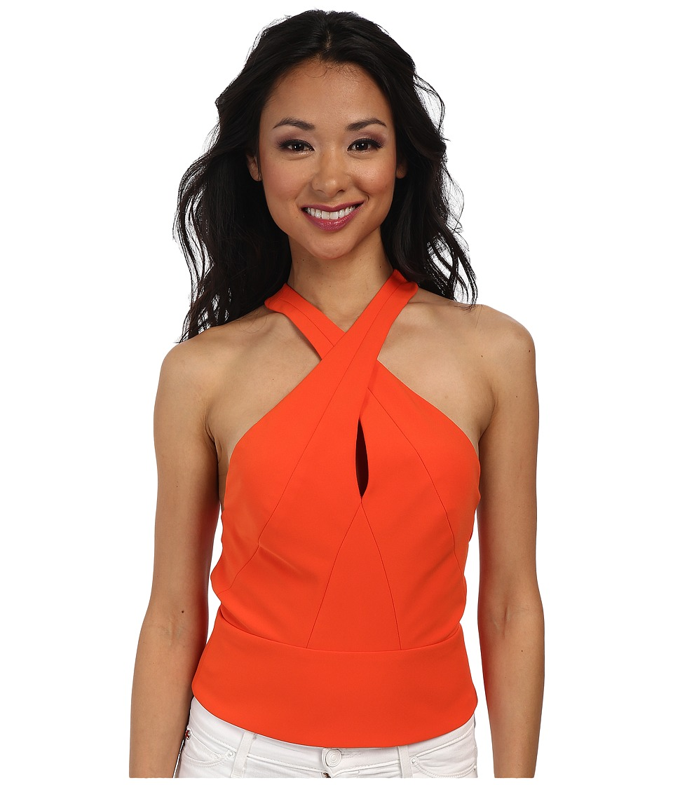 Nicole Miller - Cece Techy Crepe Halter Crop Top (Bright Orange) Women