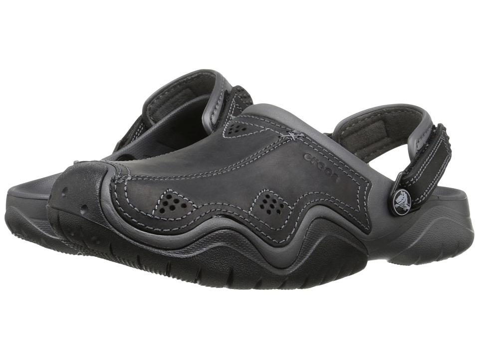 Crocs Swiftwater Leather Camp Clog (Graphite/Black) Men