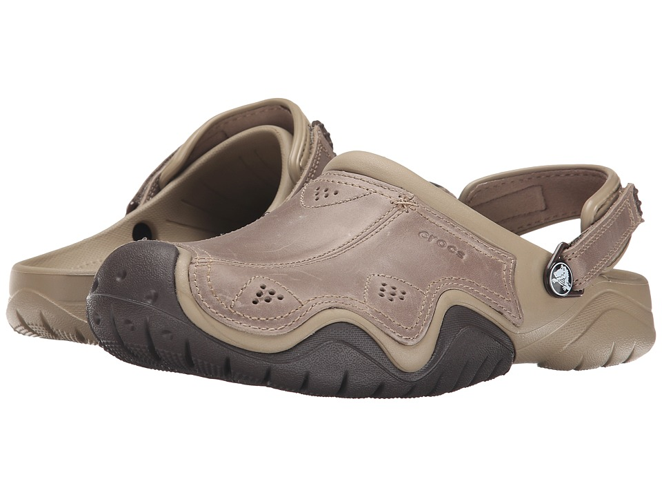 Crocs Swiftwater Leather Camp Clog (Khaki/Espresso) Men