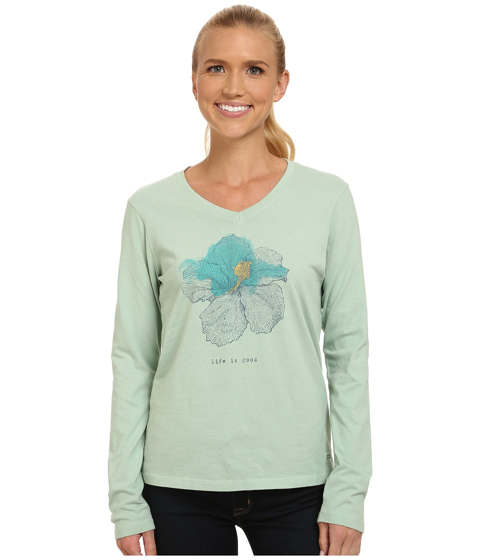 Life is good - Crusher Vee Long Sleeve Tee (Engraved Hibiscus/Minty Green) Women's Long Sleeve Pullover