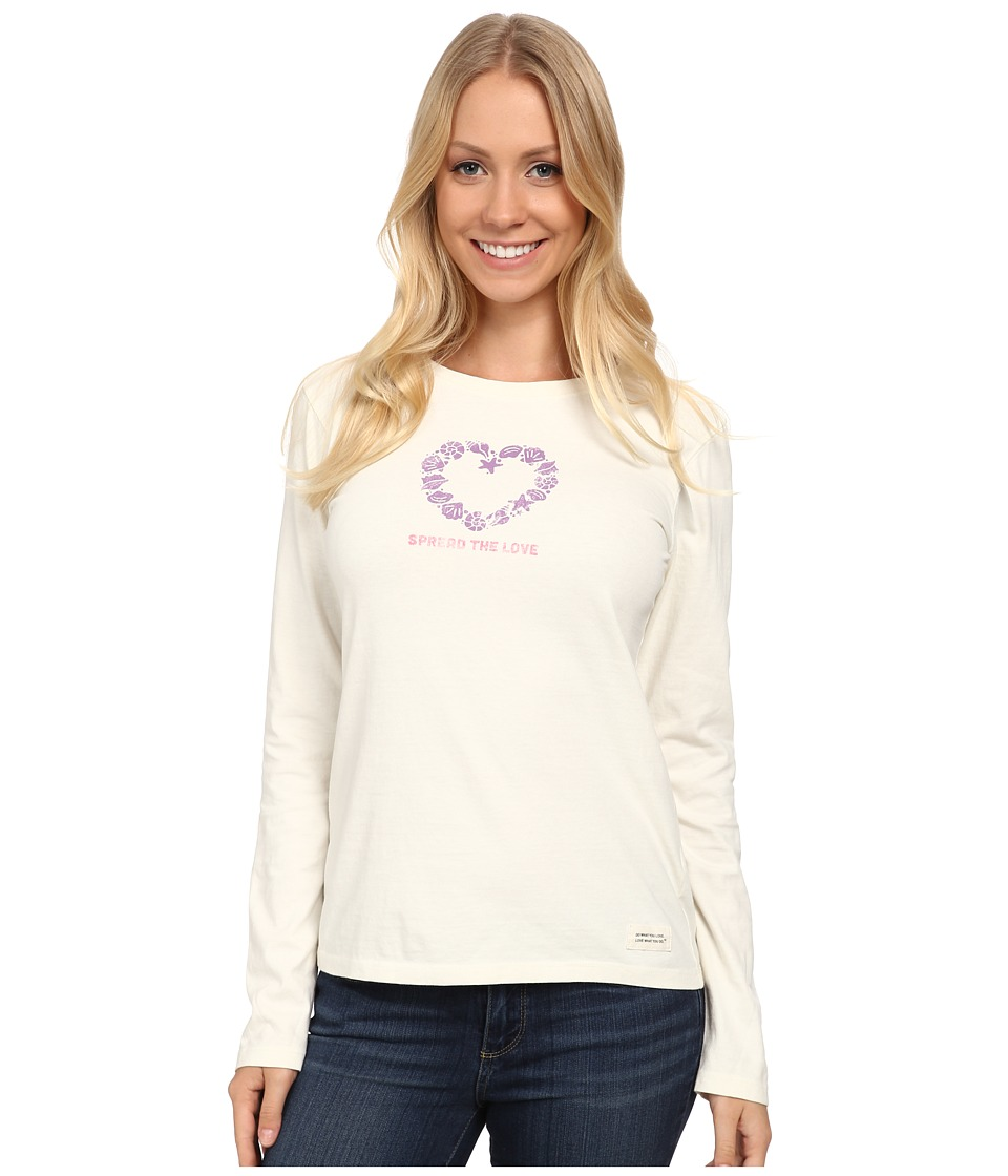 Life is good - Crusher L/S Tee (Seashells Love/Simply Ivory) Women's Long Sleeve Pullover