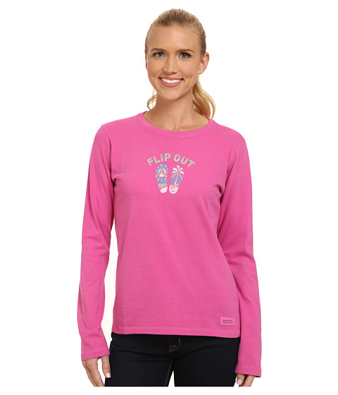 Life is good - Crusher L/S Tee (Flip Out Beach/Hot Fuchsia) Women's Long Sleeve Pullover