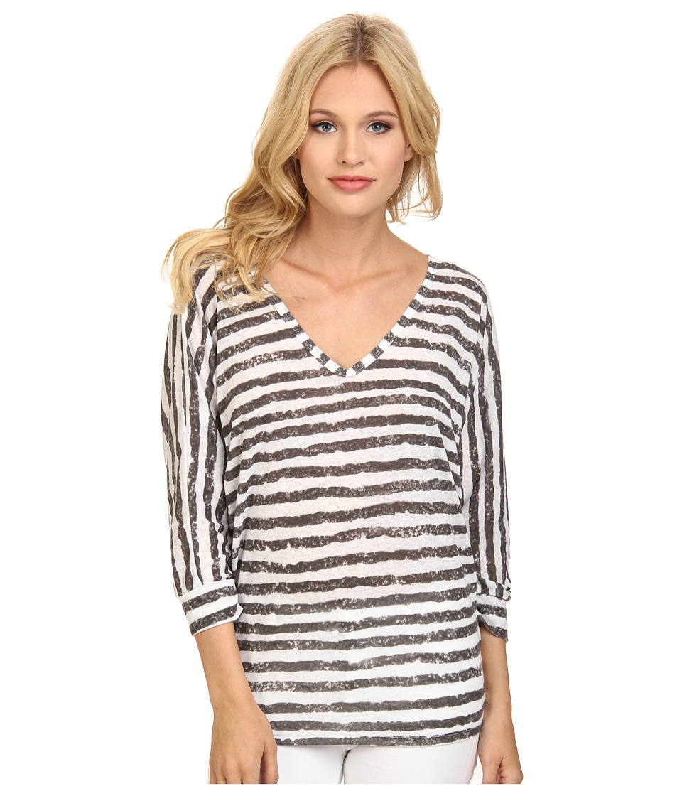 C&C California - 3/4 Sleeve Double V-Neck Dolman (Faded Black) Women