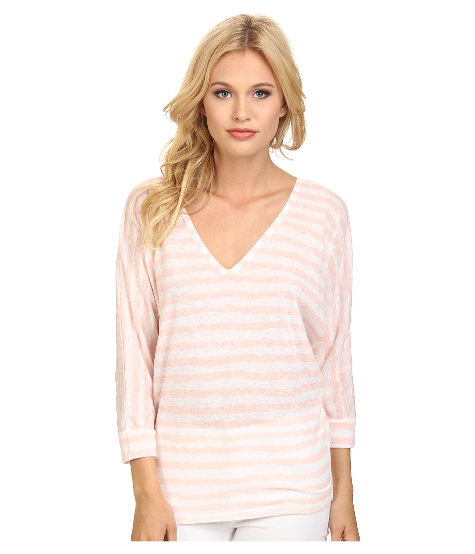 C&C California - 3/4 Sleeve Double V-Neck Dolman (Seashell Pink) Women's Long Sleeve Pullover