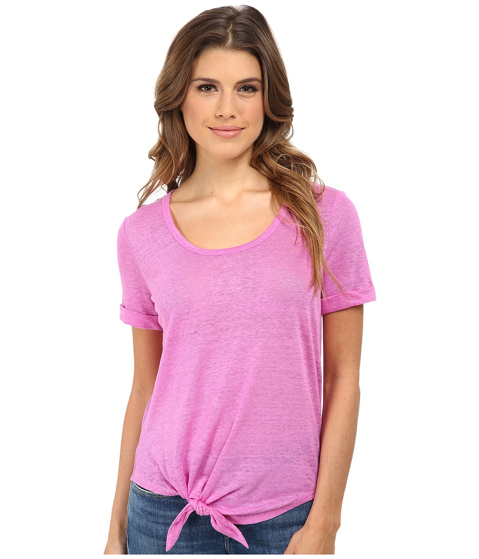 C&C California - Roll Sleeve Tee w/ Side Tie Detail (Rose Bud) Women's T Shirt