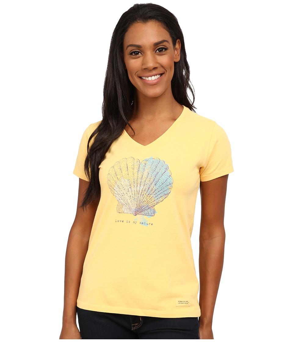 Life is good - Crusher Vee (Engraved Love Shell/Sunflower Gold) Women