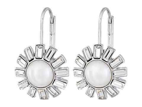 LAUREN by Ralph Lauren - Color Mingle Pearl w/ Crystal Stones Round Drop Wire Earrings (White Pearl/Silver) Earring