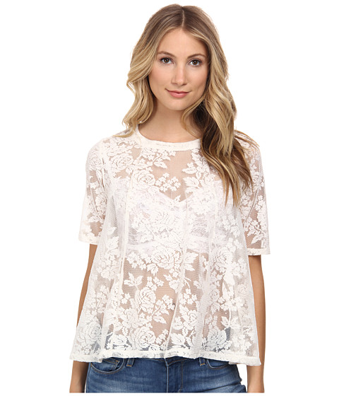 BCBGeneration - Elbow Sleeve Open Back Top (Whisper White) Women's Blouse