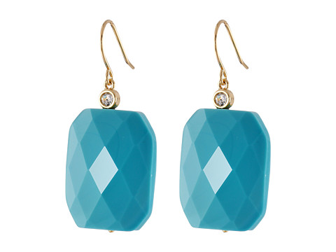 LAUREN by Ralph Lauren - The Reefs French Wire Large Faceted Stone Drop Earrings (Turquoise/Gold) Earring