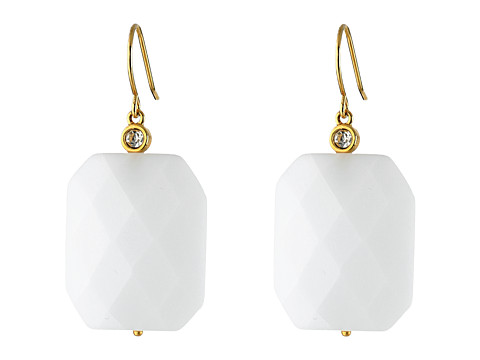 LAUREN by Ralph Lauren - The Reefs French Wire Large Faceted Stone Drop Earrings (Moonstone/Gold) Earring