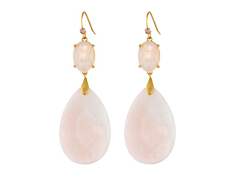 LAUREN by Ralph Lauren - Montseratt French Wire Round Faceted Stone w/ Large Teardrop Stone Double Drop Earrings (Rose/Brushed 14K Gold) Earring