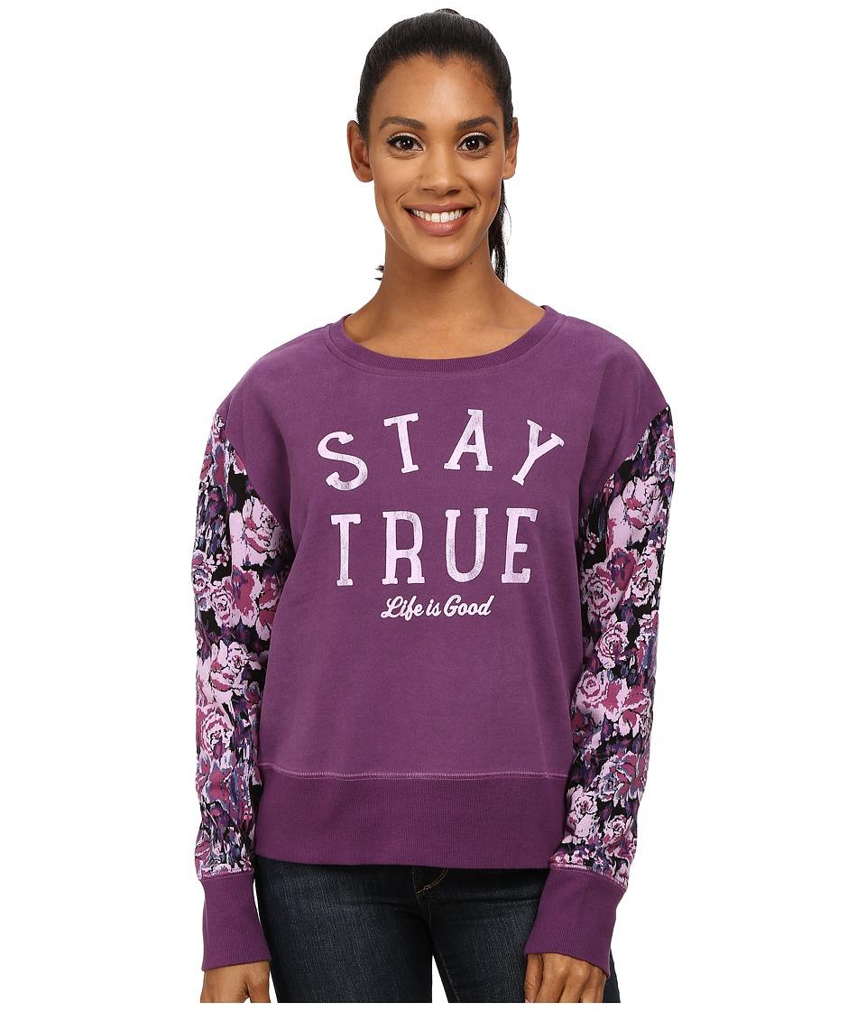 Life is good - Go-To Crew Sweatshirt (Smoky Plum) Women's Sweatshirt