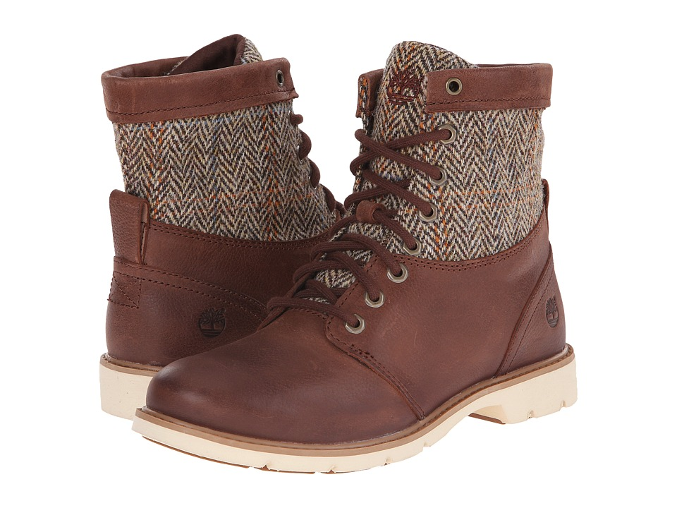 Timberland - Bramhall Fabric and Leather 6 (Dark Brown Woodlands/Tan Harris Tweed Wool) Women's Boots
