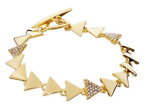 LAUREN by Ralph Lauren - Curacao 7 1/2 Metal Pave Triangle Flex w/ Ring Toggle Bracelet (Crystal/Gold) Bracelet