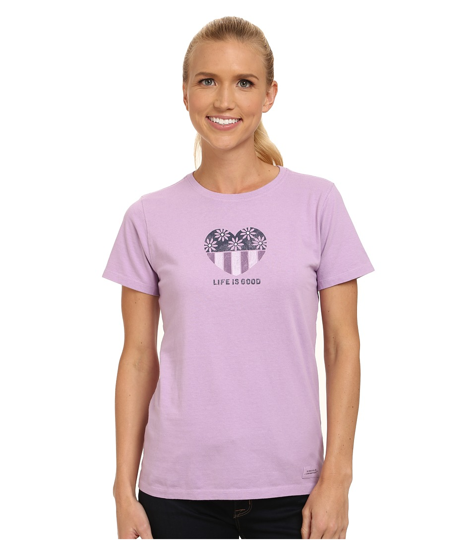 Life is good - Crusher Tee (Daisies N Stripes/Icy Lilac) Women