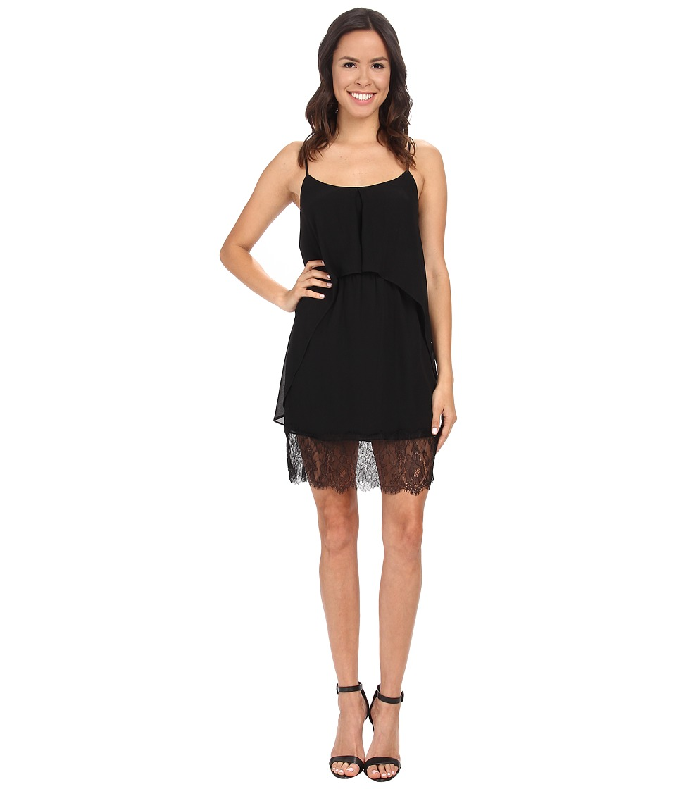 BCBGeneration - Lace Hem Flow Tank Dress (Black) Women's Dress