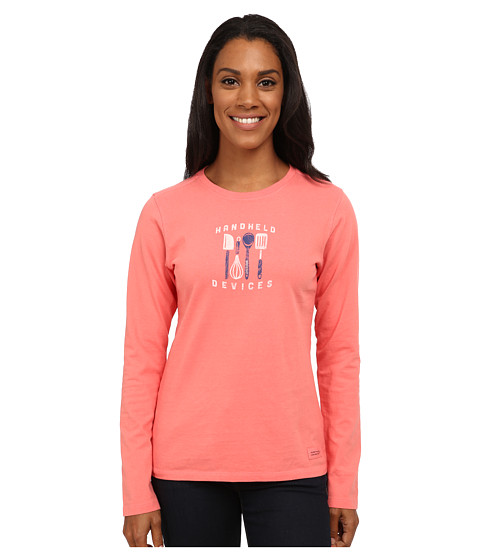 Life is good - Crusher L/S Tee (Handheld Devices/Sunny Coral) Women's Long Sleeve Pullover