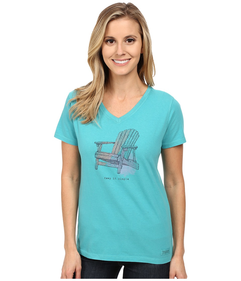 Life is good - Crusher Vee (Engraved Adirondack/Teal Blue) Women's T Shirt