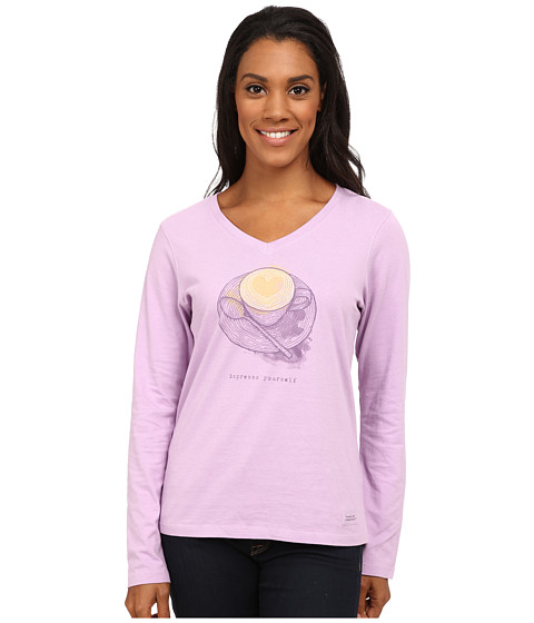 Life is good - Crusher Vee Long Sleeve Tee (Engraved Espresso/Icy Lilac) Women's Long Sleeve Pullover