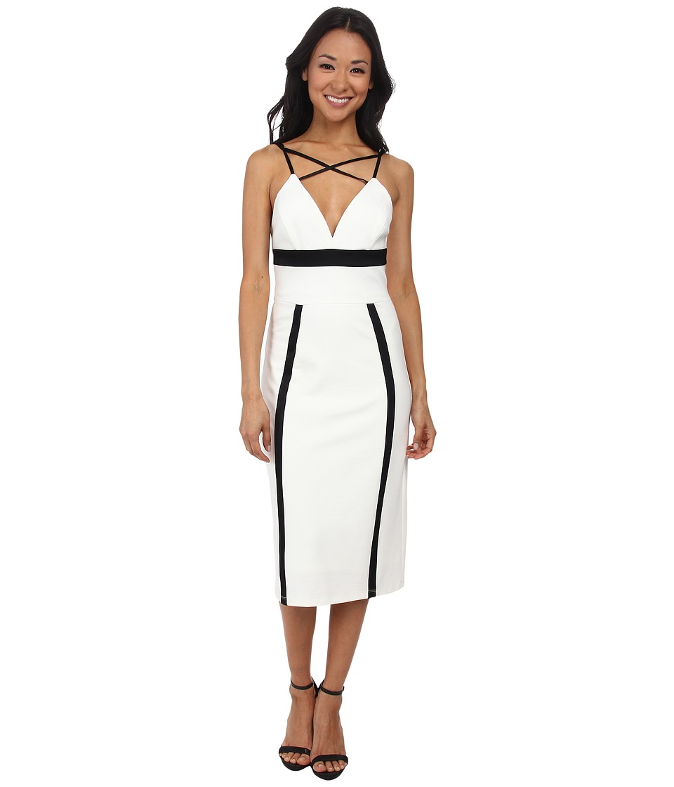 ABS Allen Schwartz Color Block Fitted Dress (Ivory) Women