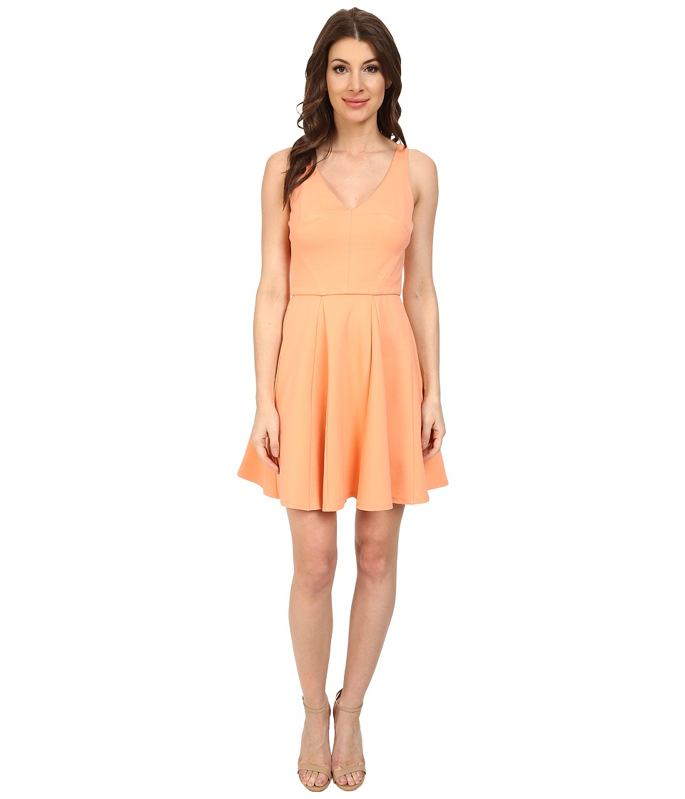 ABS Allen Schwartz Deep V Fit and Flare Dress (Peach) Women